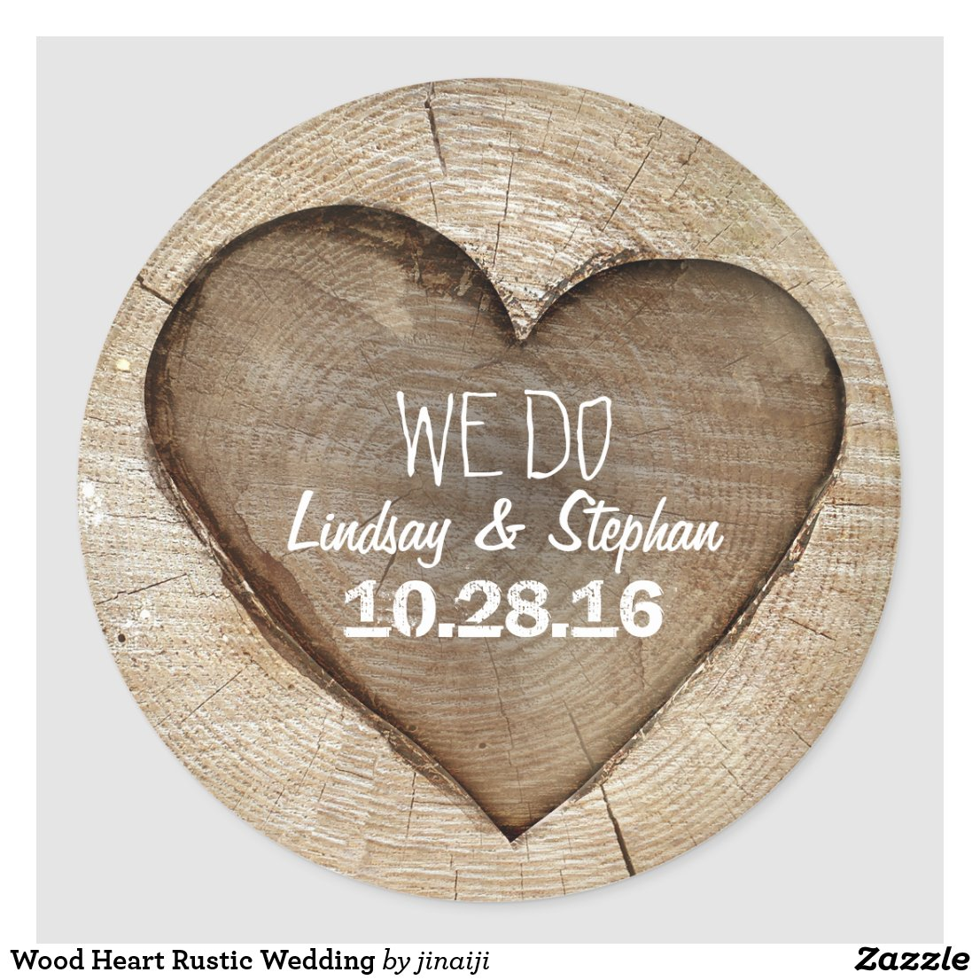 Wood Heart Rustic Wedding Sticker