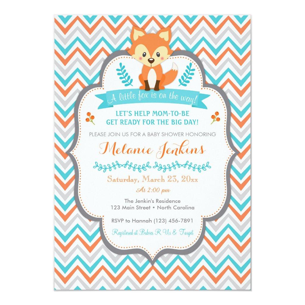 Woodland Fox Baby Shower Invitation