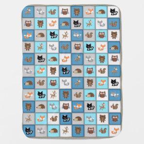 Woodland Patchwork Baby Animals Quiltlike *Blue Baby Blanket