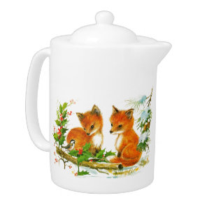 Woodland Winter Animals Porcelain Teapot