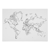 World Map Outline Poster