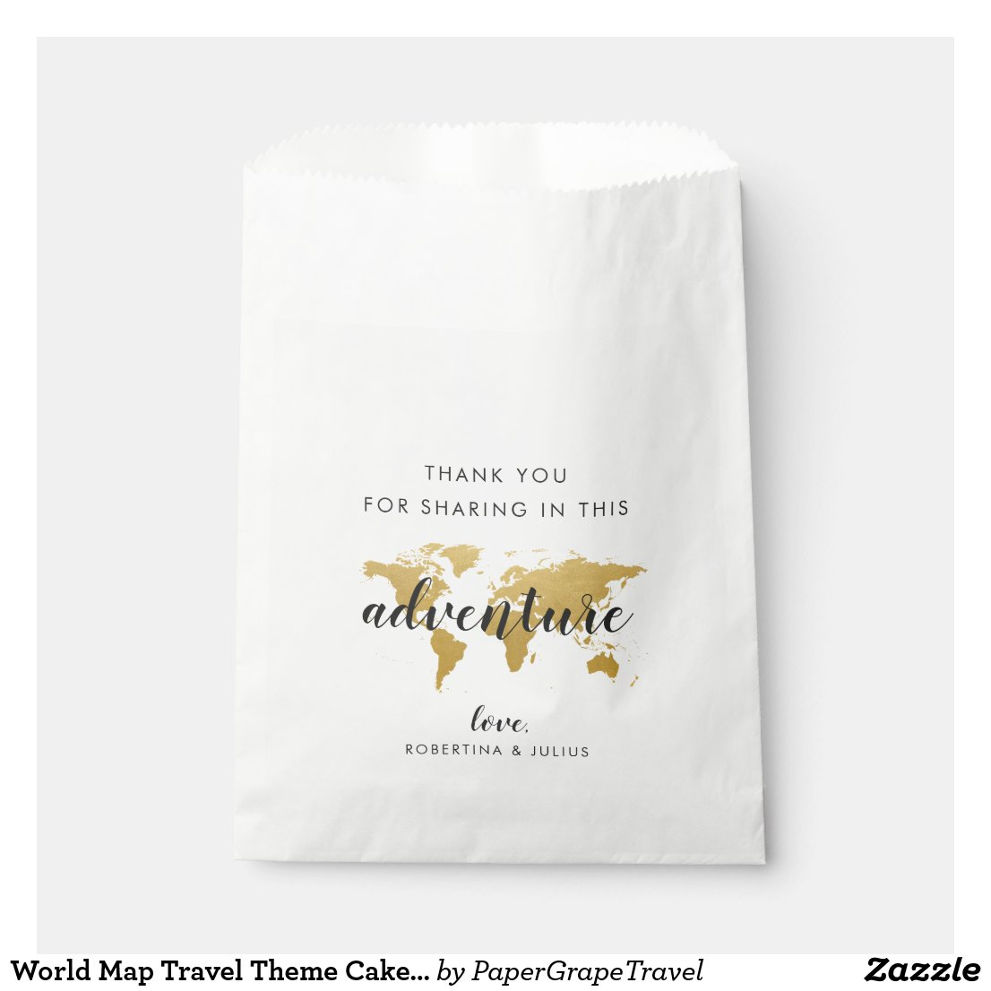 World Map Travel Theme Cake Favour Goodie Bags