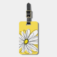 Yellow and White Whimsical Daisy with Custom Text Tag For Bags