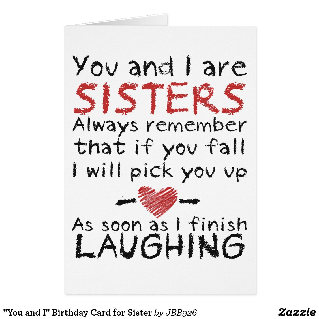 You and I Birthday Card for Sister