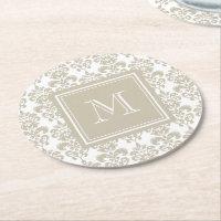 Your Monogram, Beige Damask Pattern 2 Round Paper Coaster