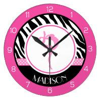 Zebra Print Gymnastics Clock