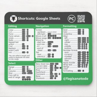 Google Sheets Keyboard Shortcuts for PC Mouse Pad