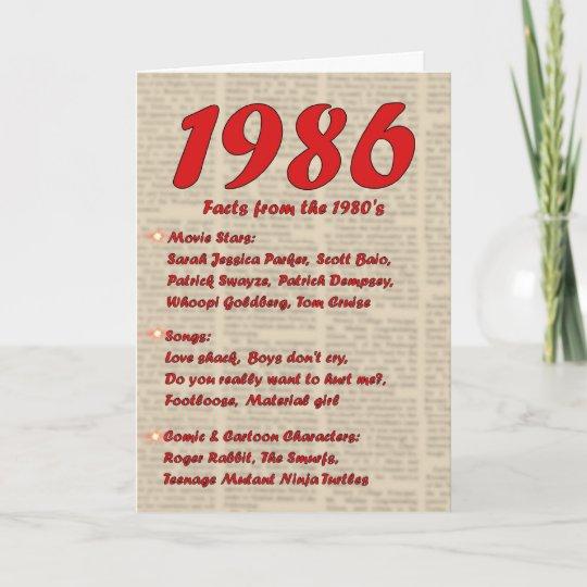 Happy Birthday 1986 Year Of Birth Neon 80 S 80s Card Zazzle Com Au