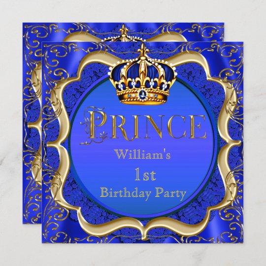 Prince 1st Birthday Boy Royal Blue Gold Crown A Invitation Zazzle Com Au