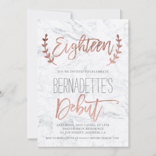 rose gold typography debut marble 18th birthday invitation