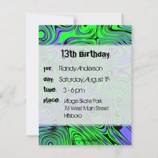 Teen Boys Birthday Party Invitations Green Invitation Zazzle Com Au
