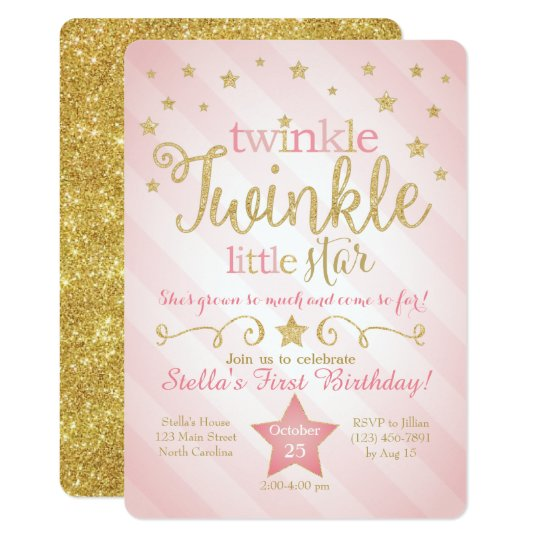 Baby Girl 1st Birthday Thank You Cards