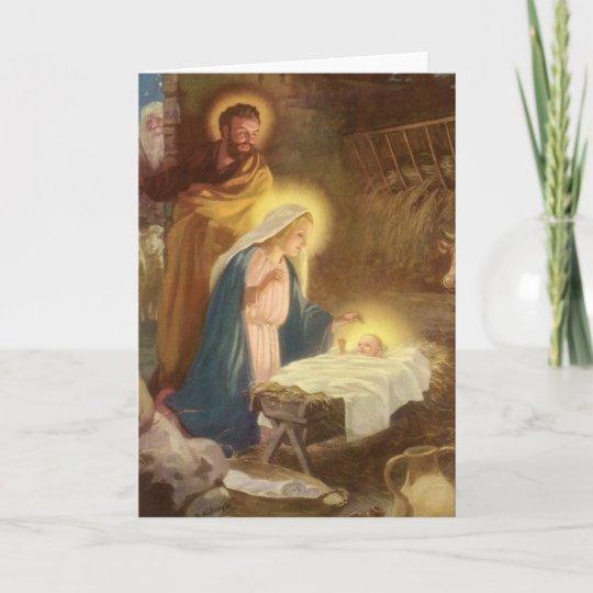 Vintage Christmas Nativity Mary Joseph Baby Jesus Holiday Card Zazzle Com Au