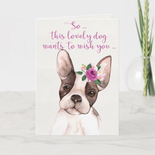 Watercolor Boston Terrier Dog Happy Birthday Card Zazzle Com Au