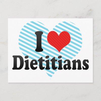 Eu amo dietistas cartão postal