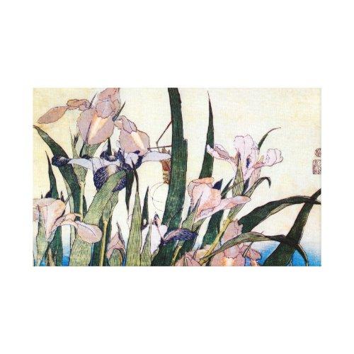 杜若ときりぎりす, 北斎 Iris and Grasshopper, Hokusai, Ukiyoe wrappedcanvas