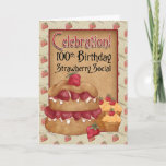❤️ 100th Birthday Strawberry Social Invitation Card