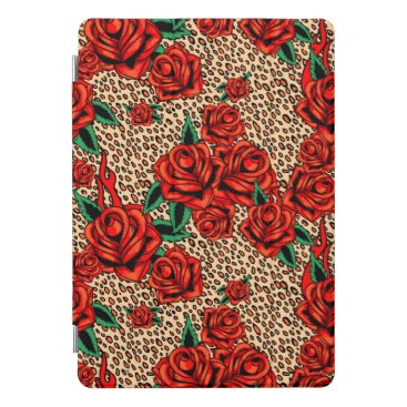"""10,.5"""" ipad pro cover red roses and leopard print"""