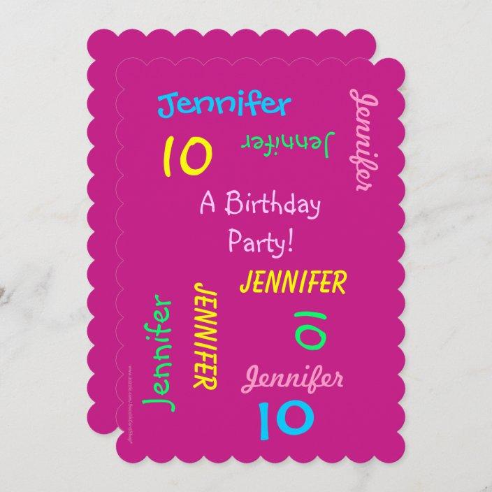 10th birthday party invitation hot pink names zazzle com
