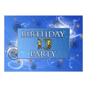 13th Abstract lights Birthday party invitation