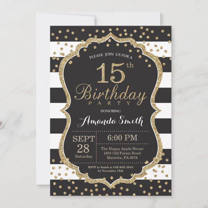 15th birthday invitation black and gold glitter invitation zazzle com