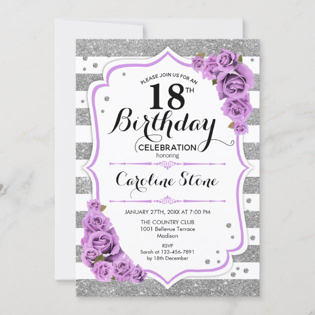 18th birthday silver white stripes purple roses invitation zazzle com