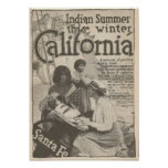 1916 Travel to California Santa Fe RR Poster