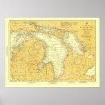 1918 Lake Huron Historic Nautical Chart Poster