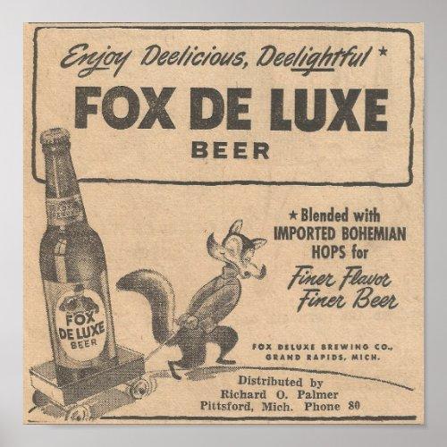 1948 Ad Fox DeLuxe Beer Poster