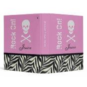 "1"" Personalized Skull & Crossbone Zebra Binder"