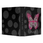 """1"""" Zebra Print Butterfly Binder"""