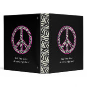 "1"" Zebra Print Peace Sign Binder"