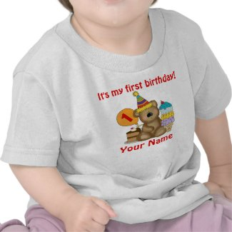 1st Birthday Bear Tee Shirt