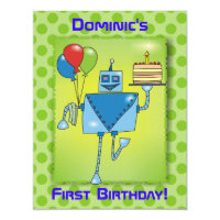 1st Birthday Party Robot with Cake Green Invite