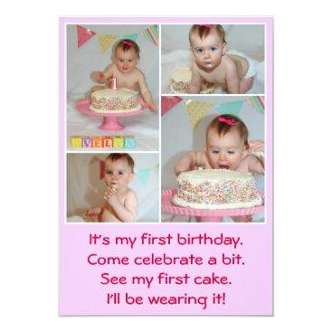 1st birthday postcard invitation