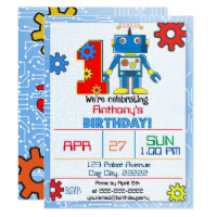 1st Birthday Robot Invitation
