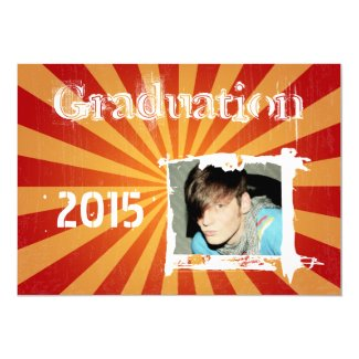 2015 Funky Orange Red Grunge Graduation Invitation