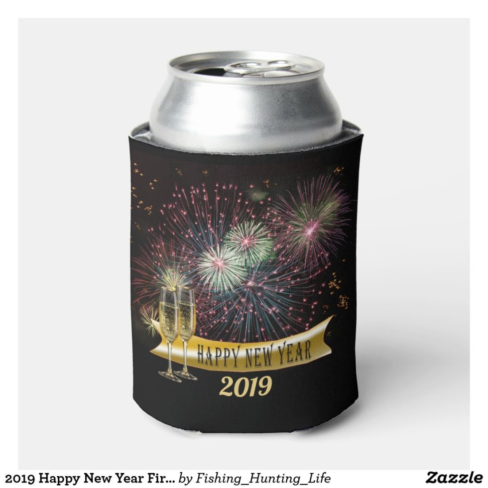 2019 Happy New Year Fireworks Can Cooler