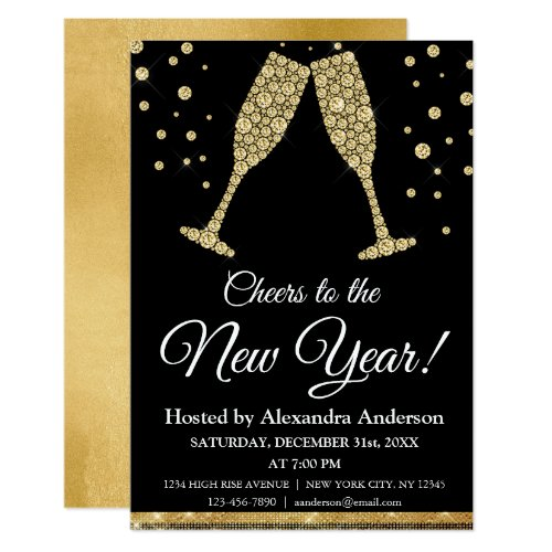 2019 New Year's Eve Party Champagne Glasses Invitation