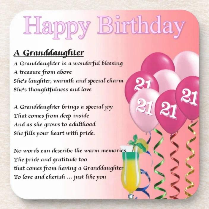 21st Birthday Granddaughter Poem Beverage Coaster Zazzle Com