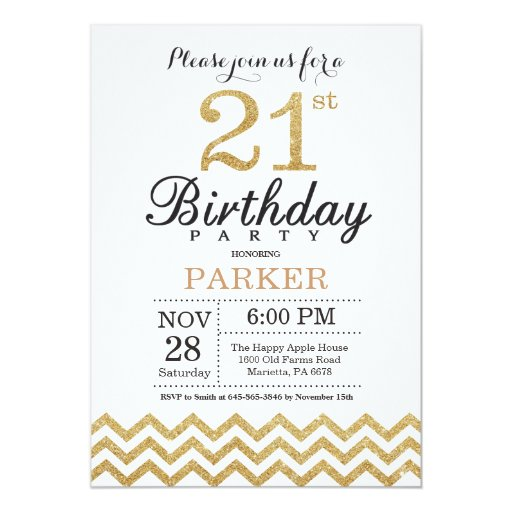 21st Birthday Invitation Gold Glitter