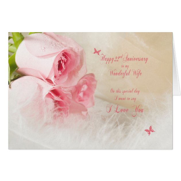 22nd Wedding Anniversary For Wife With Roses Card