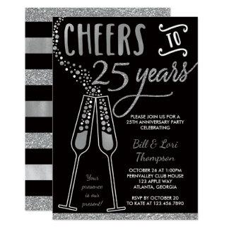 25th Anniversary Invitation Faux Glitter Foil Card