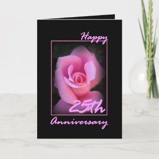 25th Wedding Anniversary Card with Pink Rosebud