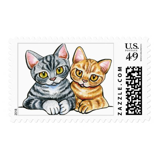 2 American Shorthairs Stamp
