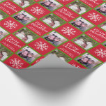 2 Photo - Red Green Merry Christmas Snowflakes Wrapping Paper