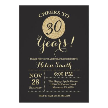 30th Birthday Invitation Black and Gold Glitter