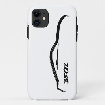 350z Black Silhouette Logo with white background iPhone 11 Case