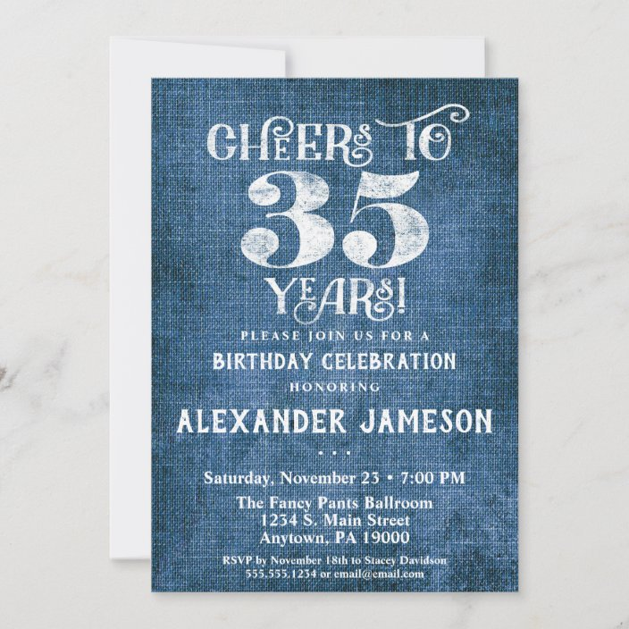 35th birthday invitation blue linen rustic cheers zazzle com