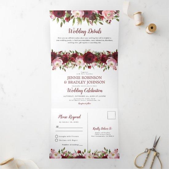 3 in 1 Blush Burgundy Floral Wedding Tri-Fold Invitation
